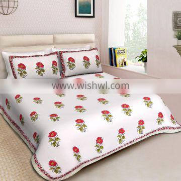 Contemporary Style Home Decor Printed Double Size Bedsheet With 2 PC Pillow Cover Set Decorative Floral Bedding Set