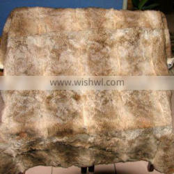 Chinese natural brown color good quality hare rabbit fur blanket