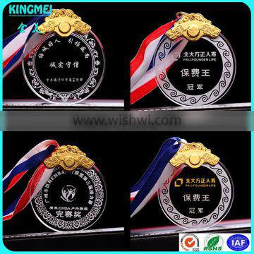 KM-XP09 2016 new arrival round shape small glass crystal medal