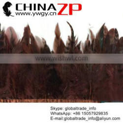 Top Supplier ZPDECOR Feather Dyed Brown Chinchilla Rooster Feathers Trim