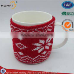 Jacquard knitted cup sleeve