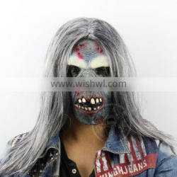 latex horror zombie mask with straight wig hair