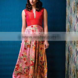 Red colored Raw Silk gown.