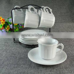 Large Cheap Wholesale 6PCS White Tea Cups And Saucers Set With Iron Stand