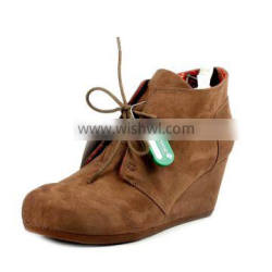 New Female Autumn Women wedge heeled boots sexy Martin Shoes Leather ankle boots with bowtie