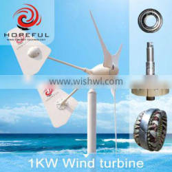 1kw new patents low noise level waterproofing wind turbine for home use with CE and ISO