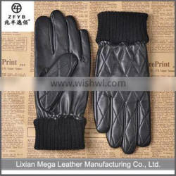 China Supplier High Quality Ladies winter warm leather gloves with elastic cuff