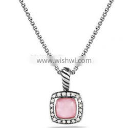 DY Sterling Silver Inspired Petite Albion Pendant with Rose Quartz and Diamonds on Chain