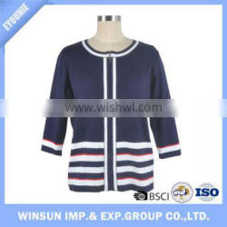 Wholesale Stylish Stand Collar Knitted Cardigan Women Zip Up Sweater