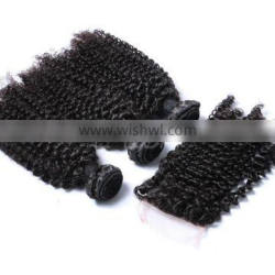 Raw vietnam hair kinky baby curl hair weave boundes with closure Supplier's Choice