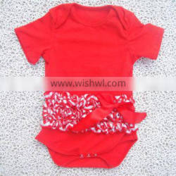 100% cotton New design Hot football bodysuit with satin ruffles for baby