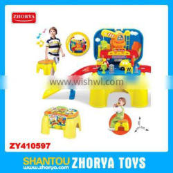 Zhorya Wholesale 2 in 1 multi-function baby learning toys with sound and light lovely baby engineering railway chair