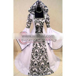 White And Black Medieval Victorian Renaissance Gothic Wedding Dress Vampire Costume Hooded Adult Women
