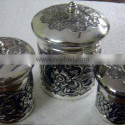 EPNS silver plated brass biscuit boxes