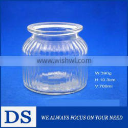 700mL large vertical stripe clear glass storage jar for dry goods