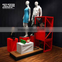 ZJF Red wooden small display bags stand
