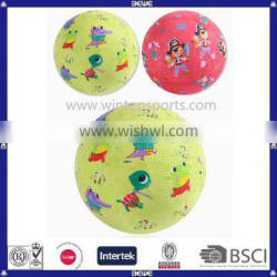 Rubber playground ball with customized logo|&color