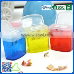 2016 wholesale factory plastic pencil sharpeners with double hole for students