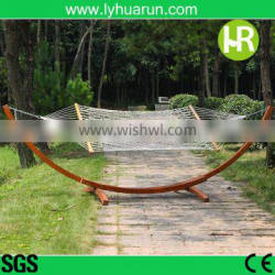 Double Natural Color Wood Mesh Hammock Stand