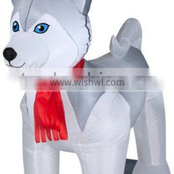 giant Christmas Inflatable dog with Santa hat for holiday decoration