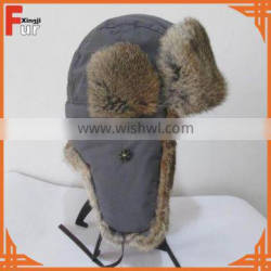 Wholesale Facotry Rabbit Fur Trapper Hat with Waterproof Shell Earflap Hat Snow Hat