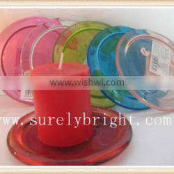 red clear resin candle holder for pillar candle