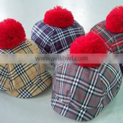 Hot plaid ladies fashion cap with ball on the top