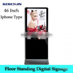Cheap price 46'' standalone floor free standing large portable screen touch samsung stand digital signage