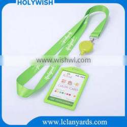 Polyester Custom green personalized badge reel lanyard with card holder