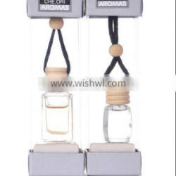 Hanging car essential oil customized Car Perfume with glass bottle