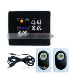 433MHz wireless Station with weather forcast/ Wireless Weather Station clock with 2 Remote Sensors for promotional gift