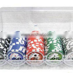 Poker Chips plus 1 playing card in inside white tin box/ NO Window