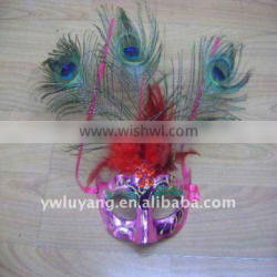Makr your charming the real grizzly feather mask for carnival