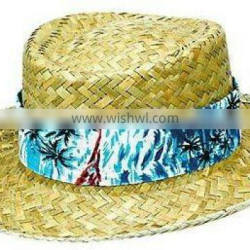 Floral Band Straw Hat 14 3/4in