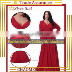 6008#2017 New model Europe and The United States Large Size Women dresses Selling Fast V-neck Long-Sleeved Red dresses