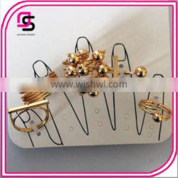 Girls fashion jewelry gold ring settings with CCP beads