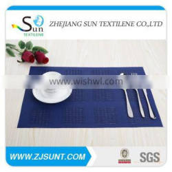 Dark blue grid PVC placemat made in China