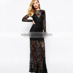 lace dress designs hot sexy transparent nighty long dress for women
