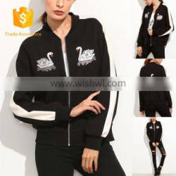 MIKA7139 White Striped Sleeve Swan Embroidered Bomber Jacket