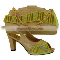 Genuine Pu leather italian designer shoes and bags in gold