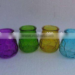colored glass candle holder/glass candle jar