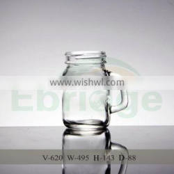 600ml crystal glass mason jar with handles for drinking