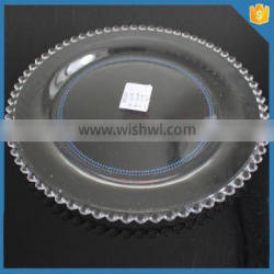 """LXHY-T035 size 27cm 11"""" inch crystal clear beaded dinner plate glass"""
