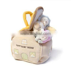 CUSTOM baby happy house 4pcs with carrier plush toy gift set