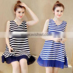 zm51279a Pregnant dress strip ladies clothes for maternity women