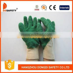 DDSAFETY 2017 Cotton With Green Latex Glove Working Gloves Industrial Gloves