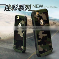 Camo green phone cases cover with geniune leather for iPhone 6 plus