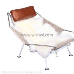 Replica Flag halyard chair with real sheep wool and ottoman