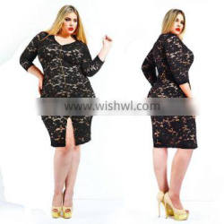 F20409A Fashionabel dress for fat women lace dress patterns long sleeve lace gauze stitching plus size women clothing for ladies Supplier's Choice