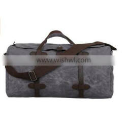 custom high quality waxed canvas travel bag with leather tim Supplier's Choice